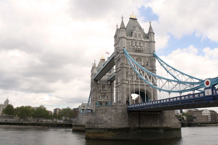 The Tower Bridge stretching across the Thames.