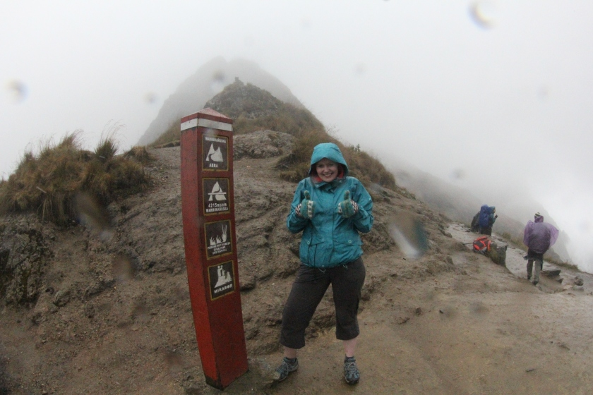 I got to the top of Dead Woman's Pass at 4200 m above sea level only to be pelted with horizontal hail to the face.