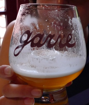 The house tripel from Staminee de Garre - intentionally poured with that much foam.