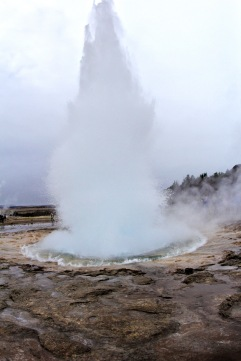 Strokkur erupts every 5-10 minutes and can reach as high as 30 feet.