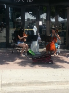 Just one of the many groups of street musicians at the market.