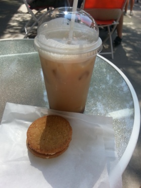Iced almond milk latte and a peanut butter cookie sandwich…yum!