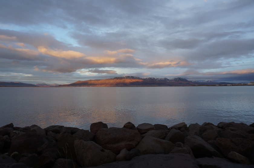 As the sun was coming down, I was treated to this view as I walked along the boardwalk from KEX hostel to Slippbarinn.