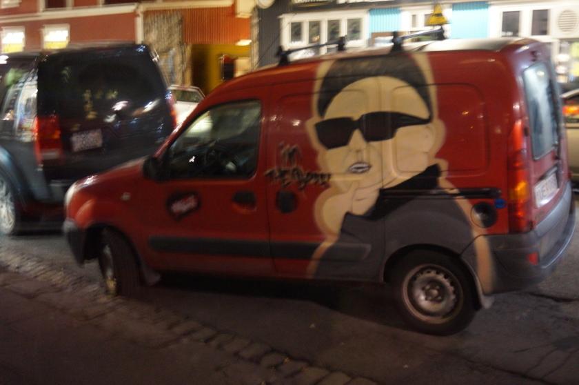 The Kim Jong-Un van I saw outside the Frederiksen window.