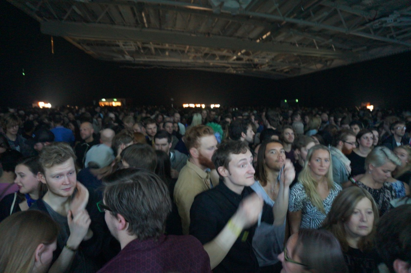 The crowd shortly after The War on Drugs left, in the weird handball stadium.