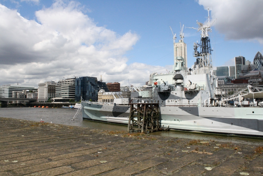 The HMS Belfast, visible from the Thames path.