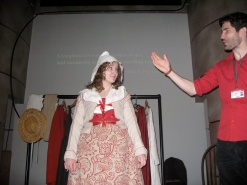 Shakespearean costume demo - apparently this is what Ophelia from Hamlet would have worn? Sooo many layers.