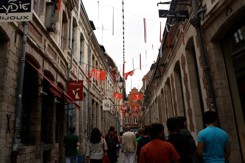 The streets of Vieux Lille, where La Braderie is held.
