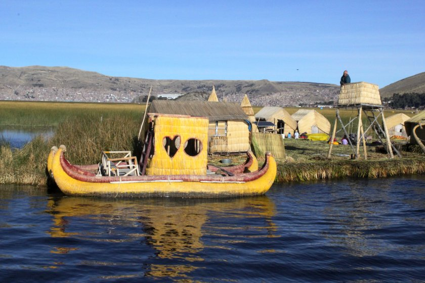 Reed boats at the Uros Islands