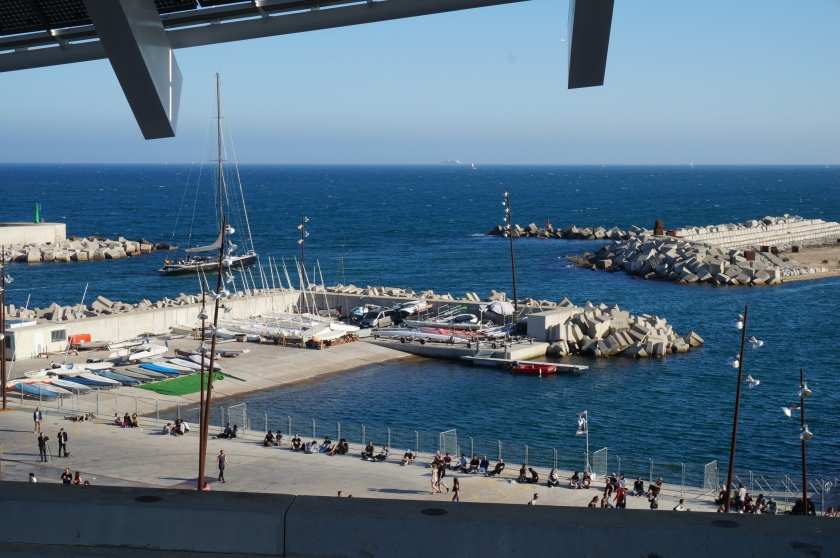 Looking down onto the Barcelona port, and the edge of the Parc del Forum, site of Primavera Sound.