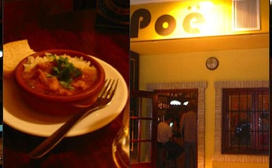 Left: coconut chicken with rice; Right: Poë's exterior. (Photo credit: Bar Poë website)