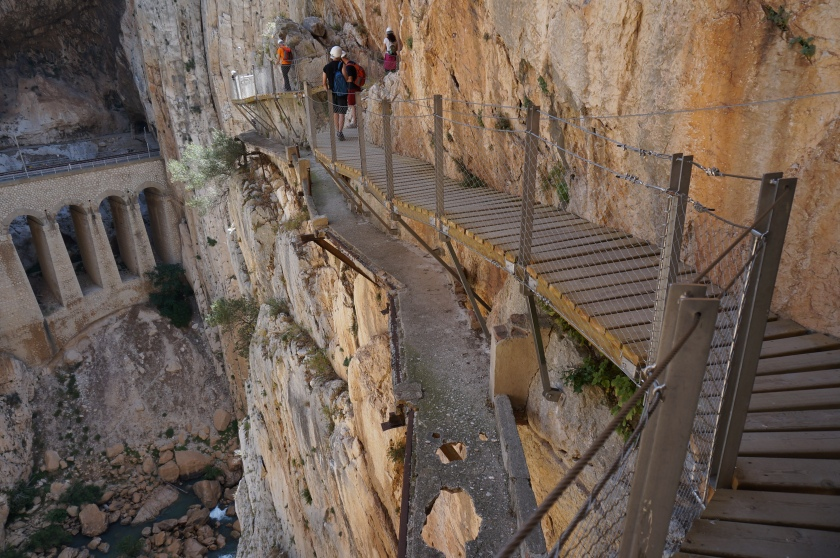 The new Caminito Del Rey boardwalk, with remnants of the trail people used to walk before the refurbishment.