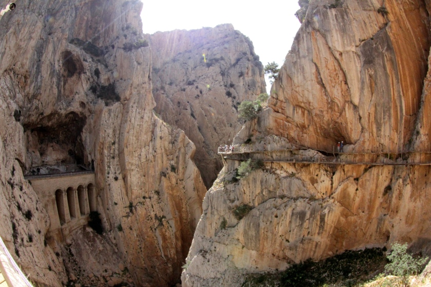 The El Chorro Canyon, and the new and old Caminito del Rey trail.