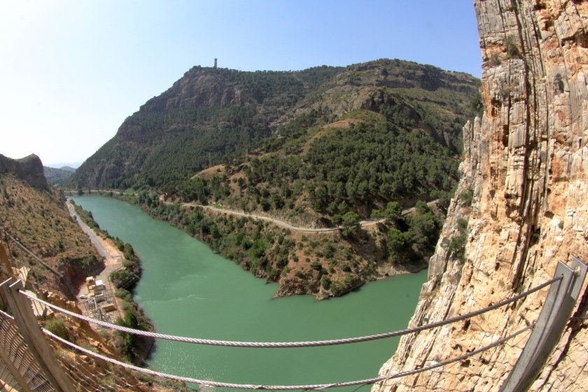 The view from the Suspension Bridge - going to the South access gate follows along the azure river.