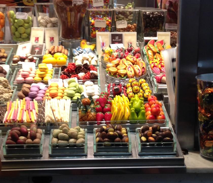 Candy versions of popular foods at La Boqueria.