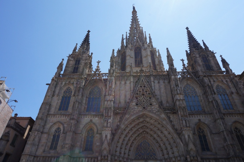 The imposing Barcelona Cathedral, that can't even fit in one camera frame.