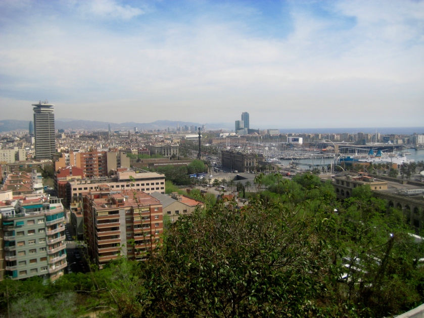 The view from the top of Montjuic - you can see Las Ramblas and the Mirador de Colom.