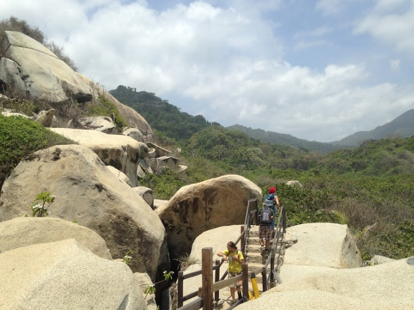 Boulders and sand are just part of the hiking terrain.