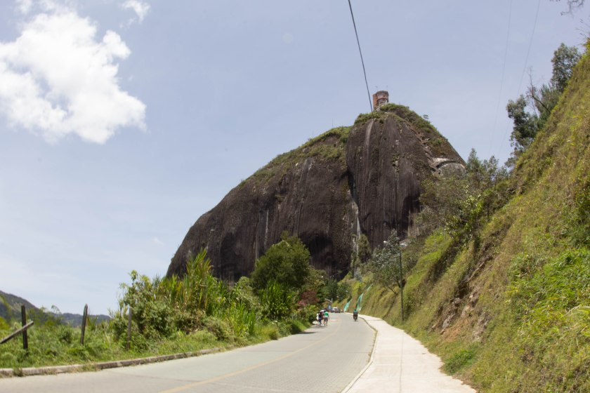 Walking up the road to La Piedra after being dropped off by the bus.